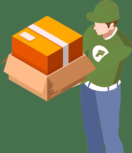 доставка коробки курьером
